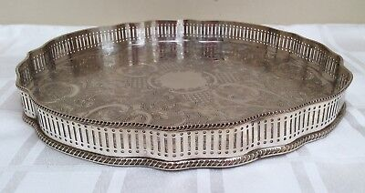 Vintage Silver Plated Engraved Gallery Tray