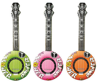 Inflatable Banjo Hippie Flower Power 3 1970's Guitar Fancy Dress Party Prop