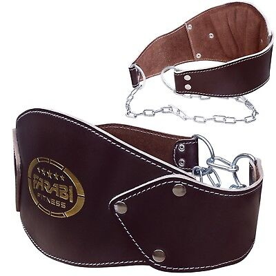 Dipping Belt Weight Lifting Heavy Training Workout Genuine Leather with Chain
