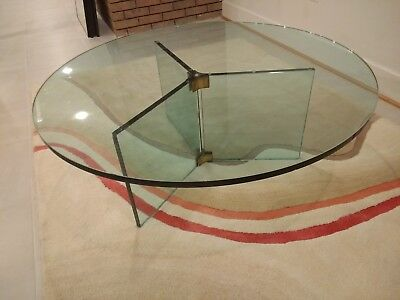 Glass / Brass Leon Rosen Pace Collection Coffee Table