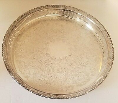 """WM ROGERS Silver Plate Serving 15"""" Tray Ornate Etching Antique"""