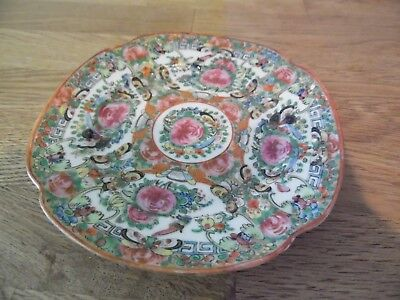 Chinese Export Floral Plate With Early Staple Repair