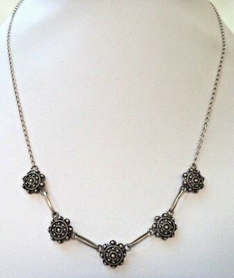 "Stunning Vintage Estate Signed 925 Sterling Silver Flower 18"" Necklace!!! 8595A"