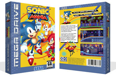 Sonic Mania Sega Mega Drive Replacement Game Box Case + Cover Art Work No Game