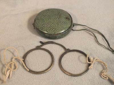 Rare Antique Chinese Shagreen Eyeglass Case & Collapsing Spectacles