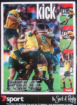 JOHN EALES THAT KICK AUSTRALIA ( v NZ, WELLINGTON 2000 ) GREAT RUGBY POSTER