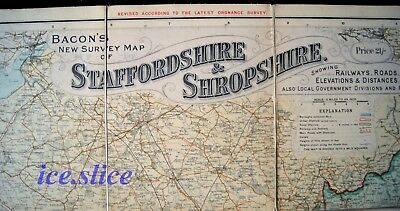 A Fold-Out Map Of: Bacon'S New Survey Map Of Staffordshire & Shropshire.