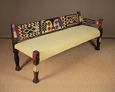 Mid Century African Carved & Painted Couch c.1960.