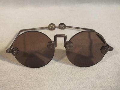 Pair Antique Chinese Plano Tinted Large Rimless Eyeglasses - Signed