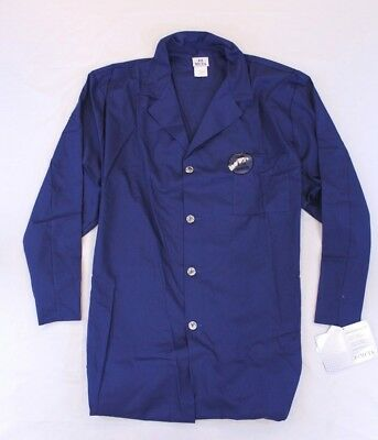 """White Swan Meta Unisex Button Front Colored 40"""" Lab Coat AB4 Blue Size 4X NWT"""