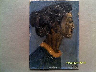 Colin Moss ARCA, oil on paper, female portrait head, signed, Modern British