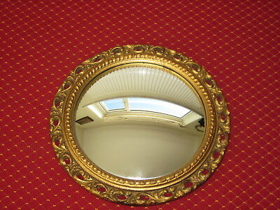 An Antique Style 1950's Rococo Gilt Convex Or Butlers Mirror, Nice Condition.
