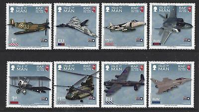 Isle Of Man 2018 100 Years Of The Royal Air Force Set Of 8 Unmounted Mint, Mnh