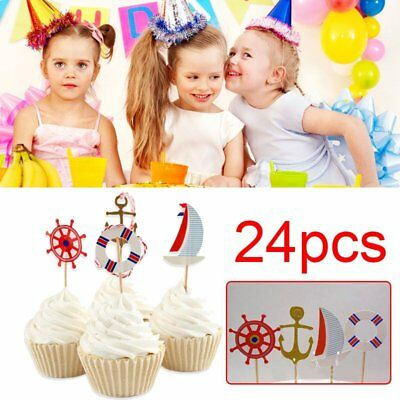 24pcs Anchor Flag Toppers Cupcake Cake Decor Wedding Anniversary Supply