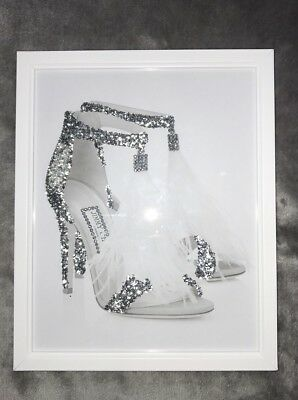 Choo Silver Glitter Shoe Diamante Wall Art White Frame