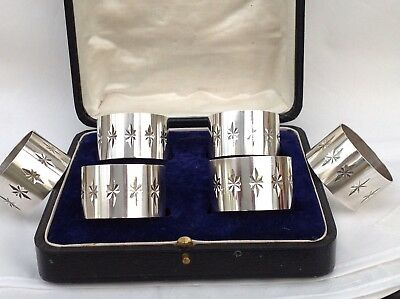 Set Of 6 Solid Silver Napkin Rings, Same Hallmarks For 1971