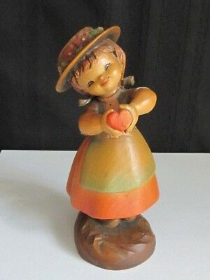 "ANRI FERRANDIZ Wood Carving  ""THE GIFT"" Girl Holding Heart 6"""