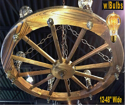 "Rustic Wood Wagon Wheel Swag Lamp Chandelier Light Lodge Antique Vintage 24-48""W"