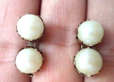 "Stunning Vintage Estate Faux Pearl 3/4"" Pierced Earrings!!!! 8600K"