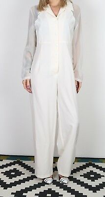 Jumpsuit Plain Wide Leg UK 14 Large  All in one 70's 80's (B3Q)