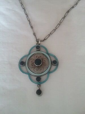 Antique art deco 1920s/30s silver and enammel pendent/necklace