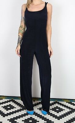 Jumpsuit Plain Wide Leg UK 10 - 12 Small Medium  All in one 90's  (B3S)