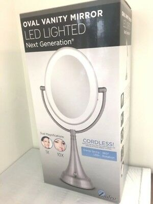 Zadro LEDOVLV410 - LED Lighted 10X/1X Oval Vanity Mirror with Satin Nickel NIB