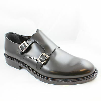 Mens Ask the Missus Black Leather Buckle  Formal Shoes UK Size 7 *Ex Display
