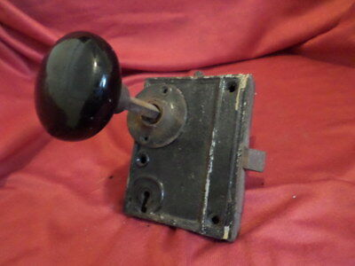 Vintage Mortise and Black Porcelain Door Knobs - Antique Rim Lock Set