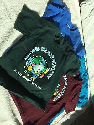 Lot of Four (4) Global Village Academy tT-Shirts Size Small
