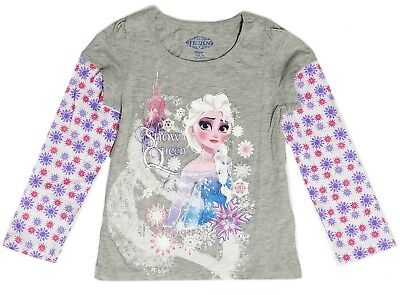 Disney t Shirt Tee Toddler Girls Top Long Sleeve Frozen Queen Elsa 2T 3T 4T 5T
