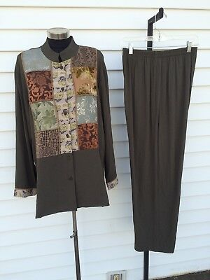 Vtg Spencer Alexis Pant Suit XL A Spence Artsy Lagenlook Jacket Pants Set