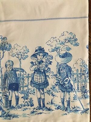 Vintage French Child's Bed Sheet With Top Fold Back In Retro Style