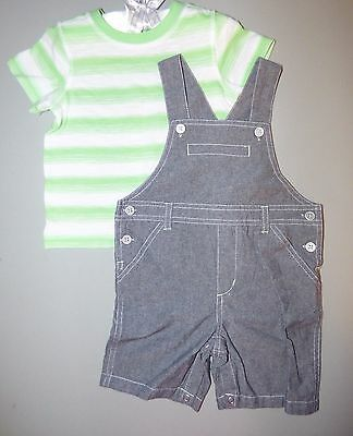 Macy's FIRST IMPRESSIONS® Baby Boy 18M Striped Tee & Chambray Shortall Set NWT