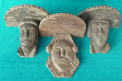 Three Very Old 18th Century Naive Carved Wood Head Shelf Stands Medieval?