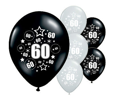 "10 x 60TH BIRTHDAY BLACK AND SILVER 12"" HELIUM OR AIRFILL BALLOONS (PA)"