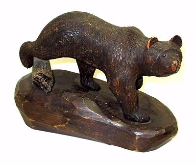 WPA Era Hand Carved Grizzly Bear 1931 of White Pine by Geo. L. Boss Beloit, WI