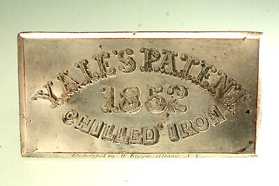 Antique Yale Lock Company Safe Plate Electrotyped Plate 1852 Yales Patent