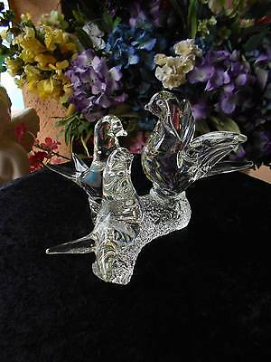 """CLEAR CRYSTAL BLUEBIRDS perched on stump decor office PAPERWEIGHT 8"""" x 7 """"x 6"""""""