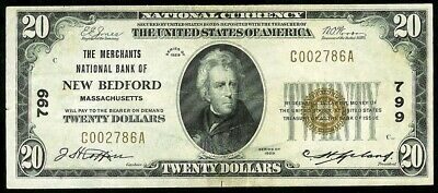 1929 Us $20 Dollar Merchants National Bank New Bedford, Ma Type 1 Note Xf #799