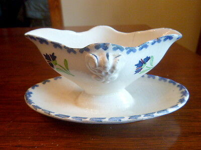French Child's Gravy Boat ~Flower Sprig Blue and Green Stencil ~ Choisy le Roi