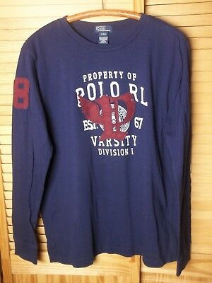 Polo Ralph Lauren patched  P Wing navy blue long sleeve shirt t shirt XL 18-20