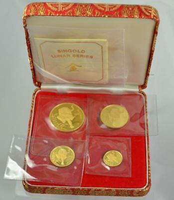 1986 Singapore 4-Coin Singold Tiger Lunar Series Proof Gold Set Box & COA