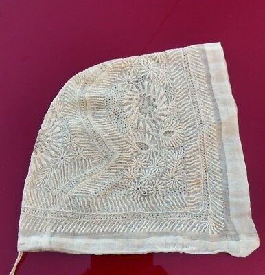Very Early 19Th C Rich Hand Embroidered Floral Baby Bonnet / Cap