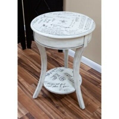 French Script Vintage Side Table - White small Round Side Table New End Table