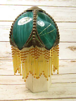Vintage Green Turquoise Color Slag Glass Lamp Shade With Beads Rare