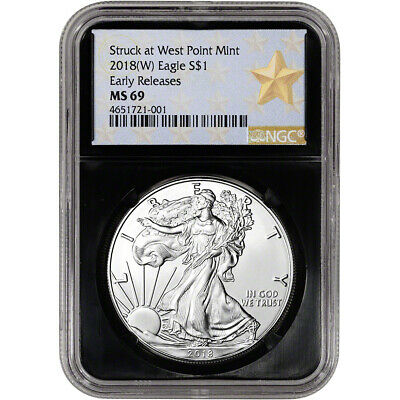 2018-(W) American Silver Eagle - NGC MS69 - Early Releases - Star Label - Black
