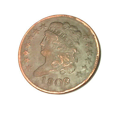 1809 Capped Bust Half Cent Superb Details..