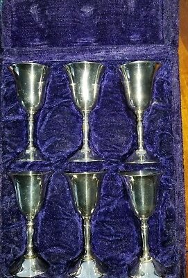 Silver Plated Shot Glasses, Set of 6 Silverplate    Goblets, EPNS 230