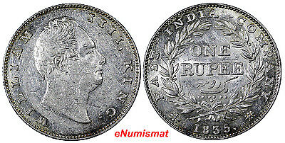 India-British Silver 1835 B Rupee Bombay Choice XF 1 Year SCARCE KM#450.1 (7185)